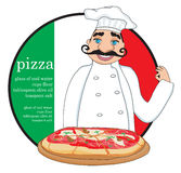 Chef with pizza - Abstract card with space for Your text Royalty Free Stock Photo