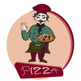 Chef pizza banner, logo. Chef pizza banner, cooker character, vector illustration hand drawn Royalty Free Stock Images