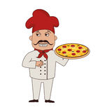 Chef pizza character icon. Illustration design Royalty Free Stock Images