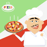 Chef pizza. Cook holds a hot pizza on a tray. Vector comic carto Stock Image