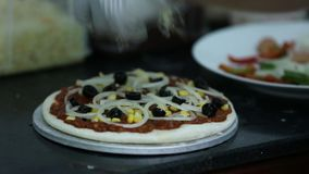 Chef pizza cooking pizza stock footage