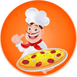 Chef with a pizza. In hand Royalty Free Stock Image