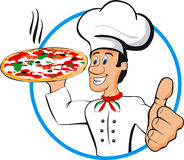 Chef pizza vector illustration