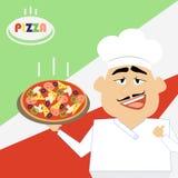 Chef Pizza Le cuisinier tient une pizza chaude sur un plateau Carto comique de vecteur Image stock