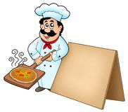 Chef with pizza plate and board Royalty Free Stock Images