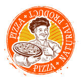 Chef and pizza. stamp. vector illustration Royalty Free Stock Photos