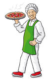 Chef with pizza (vector) Stock Photos