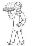Chef with pizza (vector) Royalty Free Stock Photography