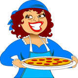 Chef and pizza royalty free illustration