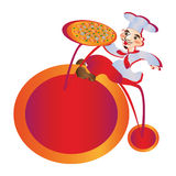 Chef pizzal lucky pizza on the bike Royalty Free Stock Photo