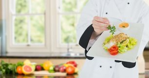 Chef with plate of food against blurry kitchen with vegetables Stock Image