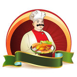 Chef with plate with green ribbon Stock Photos