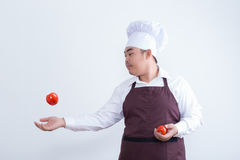 Chef play with food concept Royalty Free Stock Photo