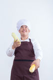 Chef play with food concept Stock Photos