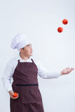 Chef play with food concept Royalty Free Stock Photos