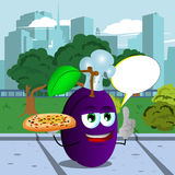 Chef plum holding pizza with attitude in the city park with speech bubble Stock Photos