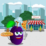 Chef plum holding pizza with attitude in front of a restaurant Stock Images