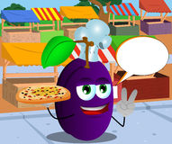 Chef plum with pizza gesturing the peace sign on the market with speech bubble Stock Images