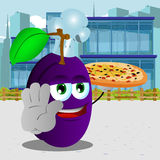 Chef plum with pizza holding a stop sign in the city Royalty Free Stock Photo
