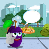 Chef plum with pizza holding a stop sign in the city park with speech bubble Stock Images
