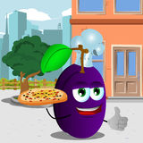 Chef plum with pizza showing thumb up in the city Stock Images