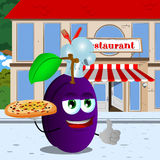 Chef plum with pizza showing thumb up in front of a restaurant Stock Photography