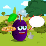 Chef plum with pizza showing thumb up on a meadow with speech bubble Stock Photography