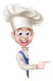 Chef Pointing Around Sign Lizenzfreie Stockbilder