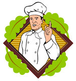 Chef pointing a finger. Vector art of a Chef pointing a finger Royalty Free Stock Photo