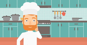Chef pointing forefinger up. Stock Photo