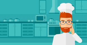 Chef pointing forefinger up. Royalty Free Stock Photo