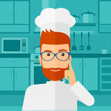 Chef pointing forefinger up. Stock Image