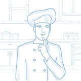 Chef pointing forefinger up vector illustration. Stock Image