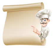 Chef pointing at menu. Illustration of a happy cartoon chef pointing at menu Royalty Free Stock Images
