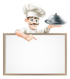 Chef pointing at sign Royalty Free Stock Photography