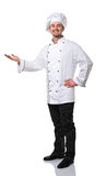 Chef portrait. Smiling caucasian chef on white background royalty free stock image