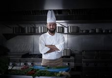 Chef portrait with beard in restaurant kitchen Royalty Free Stock Photography
