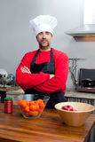 Chef portrait with mustache in black and red Stock Images