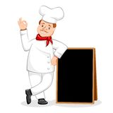Chef Posing with Black Board Stock Image