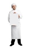 Chef with poster board isolated Stock Photo