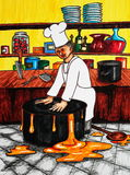 Chef and pot. Hand drawn picture of a chef wrestling a pot Stock Photography
