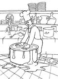 Chef and pot. Hand drawn picture of a chef wrestling a pot Stock Photos