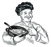 Chef and pot. vector illustration Stock Image