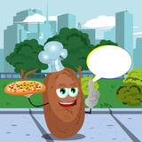 Chef potato holding pizza with attitude in the city park with speech bubble Stock Photo