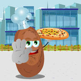 Chef potato with pizza holding a stop sign in the city Royalty Free Stock Images
