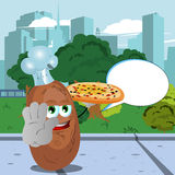 Chef potato with pizza holding a stop sign in the city park with speech bubble Stock Image