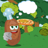 Chef potato with pizza pointing at viewer in the forest with speech bubble Stock Photography