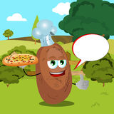 Chef potato with pizza showing thumb up on a meadow with speech bubble Stock Image
