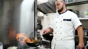 Chef pouring alcohol into the pan ignites, making fry meal being prepared in a hotel or restaurant kitchen flambe style