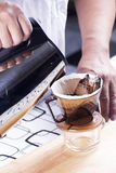 Chef pouring hot water to Fresh coffee Stock Photography